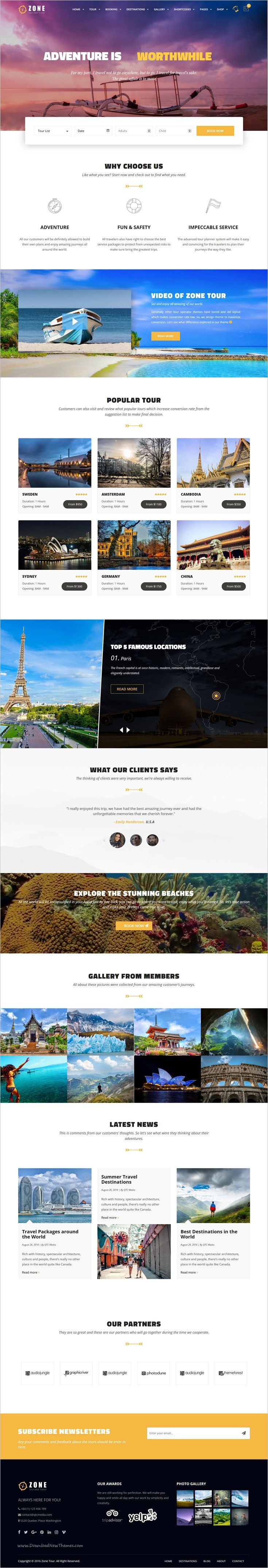 Zone Tour is a responsive #WordPress theme for #travel Agencies or Companies which supply #tourist services website download now➩ https://themeforest.net/item/zone-tours-and-travel-wordress-responsive-template/18476074?ref=Datasata
