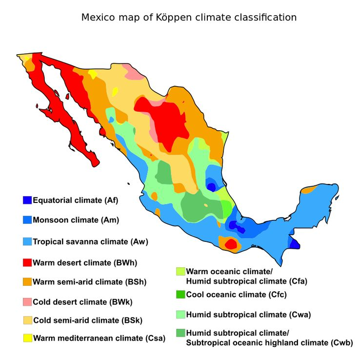 Mexico map of Kppen climate classification Geography of Mexico