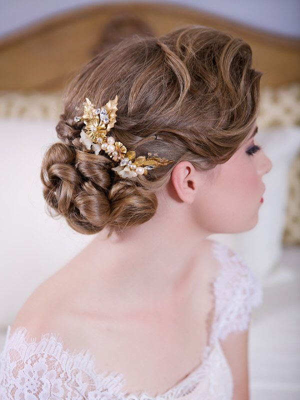 Braut haarschmuck blume  Die besten 10+ Goldener Haarschmuck Ideen auf Pinterest ...