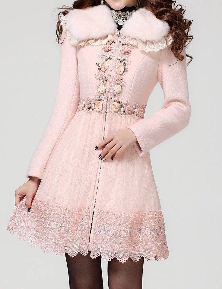 Женщины куртка женская осенне зимней моды новый длинный отрезок шерстяное пальто кролик меховой воротник пальто шерсти бесплатная доставка купить на AliExpress