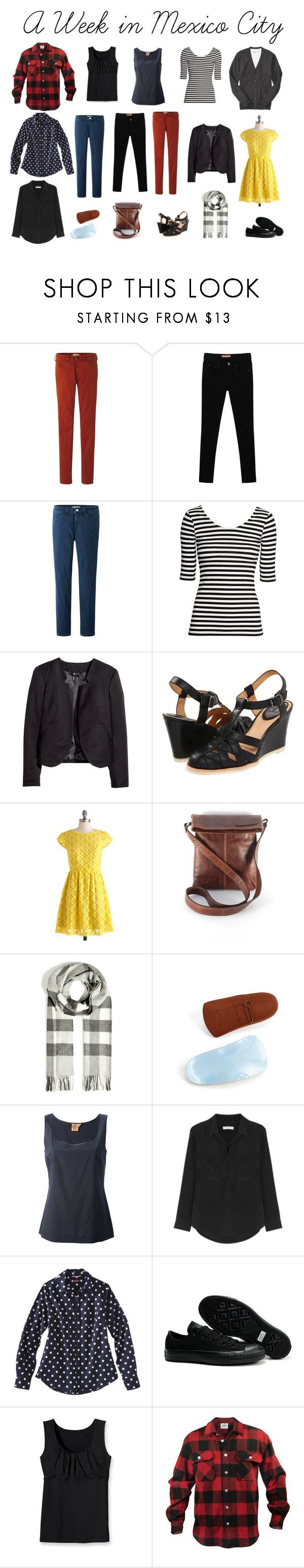 """""""A Week in Mexico City"""" by sharpsusan ❤ liked on Polyvore featuring Uniqlo, Envy Look, H&M, Frye, Kensie Girl, Burberry, Birkenstock, Tory Burch, Isabel Marant and Converse"""