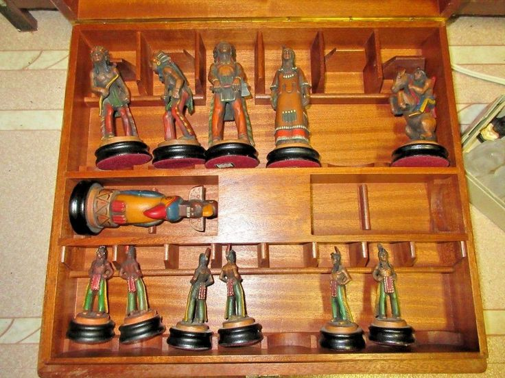 "Rare Vintage Anri ""FAR WEST CHESS SET"" #71806/K Box Missing 8 Pieces Wood Carved"