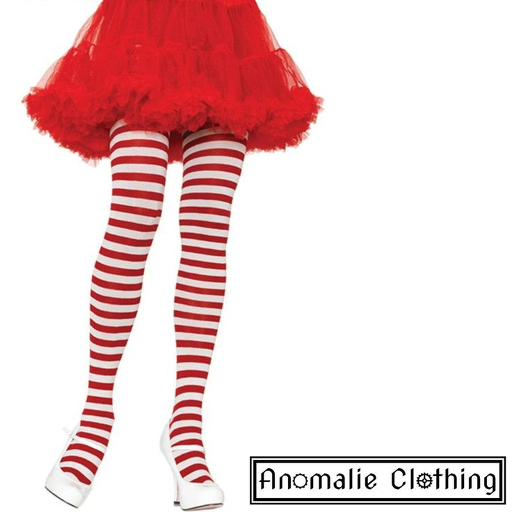 Red & White Striped Tights