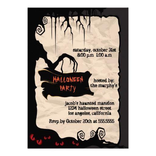 7 best invitations images on pinterest invites lyrics and text spooky tree halloween party invitation stopboris Images
