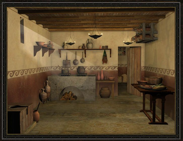 Rome - 3d reconstruction of a roman culina (kitchen)