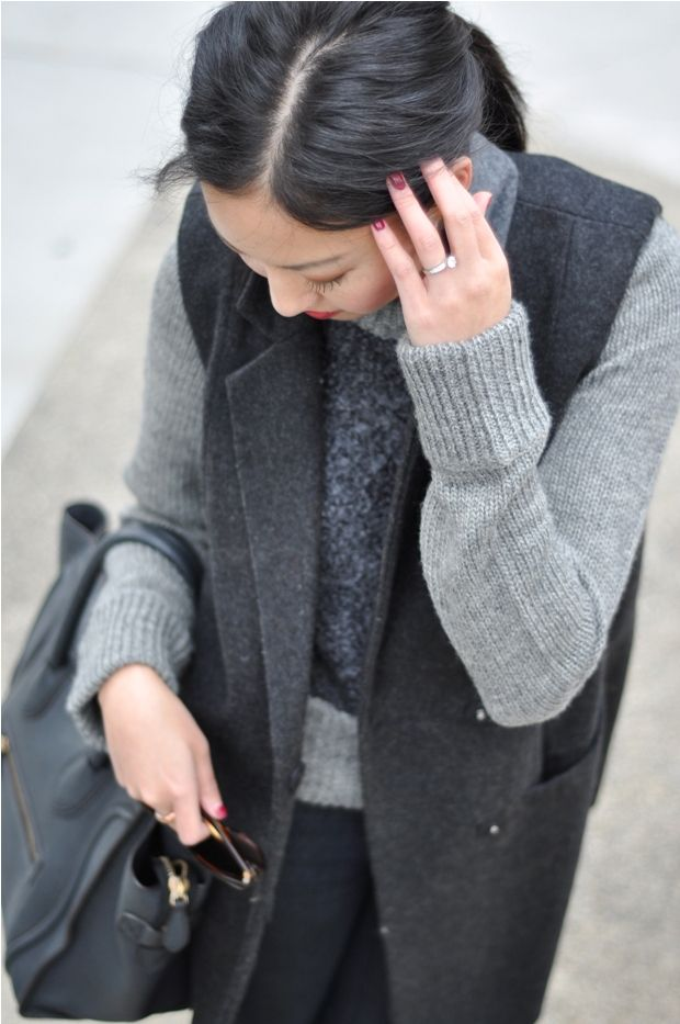Layer your monochromatics with lots of different textures and shades!  It always equals a cozy warm look!
