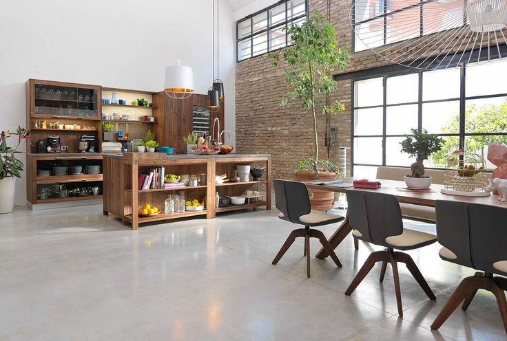 Küche aus holz mit kücheninsel loft team 7 natürlich wohnen küchen pinterest natürliches wohnen wohn design und kücheninsel