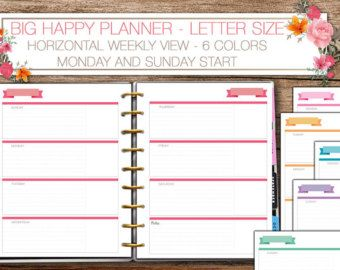 Big Happy Planner - Letter size weekly inserts
