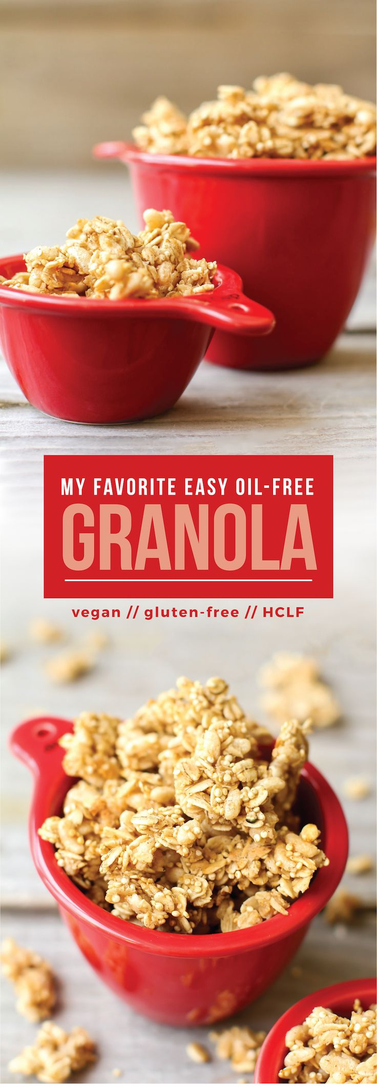 The easiest oil-free granola loaded with crunchy clusters perfect as a snack, cereal, or topping! Vegan, gluten-free, low fat, and customizable...