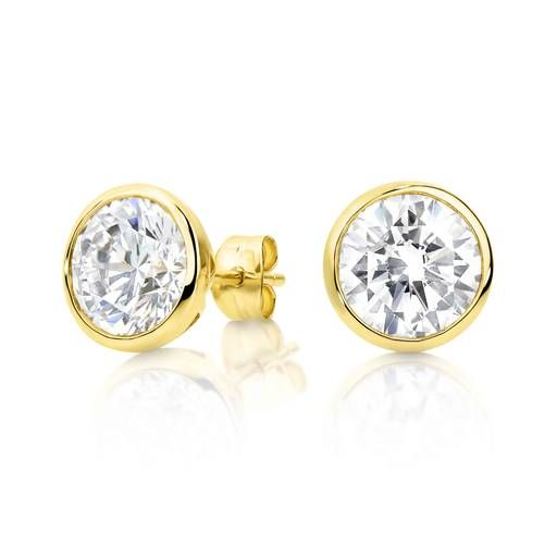 9ct Yellow Gold Cubic Zirconia Bezel Earrings