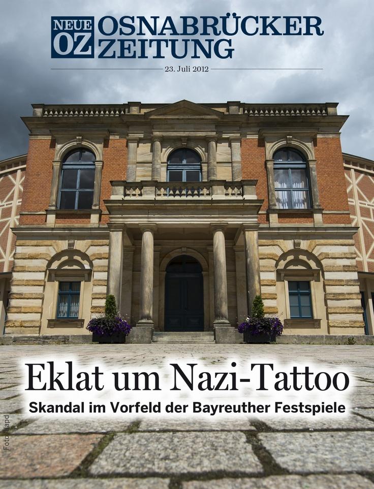 """Das Cover-Thema unserer iPad-Ausgabe vom 23. Juli 2012 beschäftigt sich mit einem Eklat: Ein """"fliegender Holländer"""" mit Nazi-Symbolen auf der Brust - das ist in Bayreuth undenkbar. Der russische Sänger Evgeny Nikitin musste wegen seiner Tattoos den Auftritt bei den Festspielen absagen."""