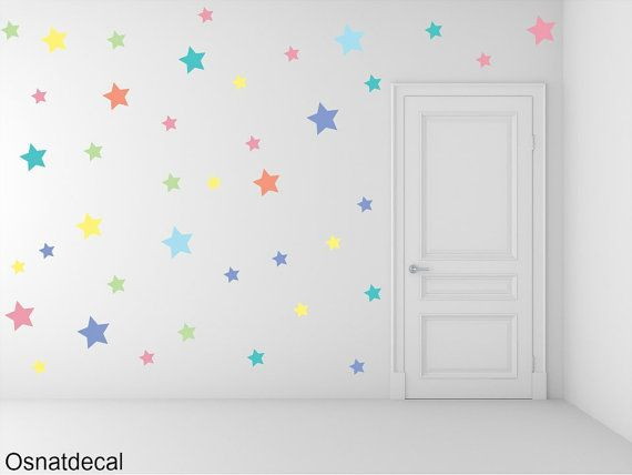 FREE SHIPPING Wall Decal Different Size of 150 Stars Pastel  Colors . Home Decor.Nursery Wall Sticker. Vinyl Wall Decal