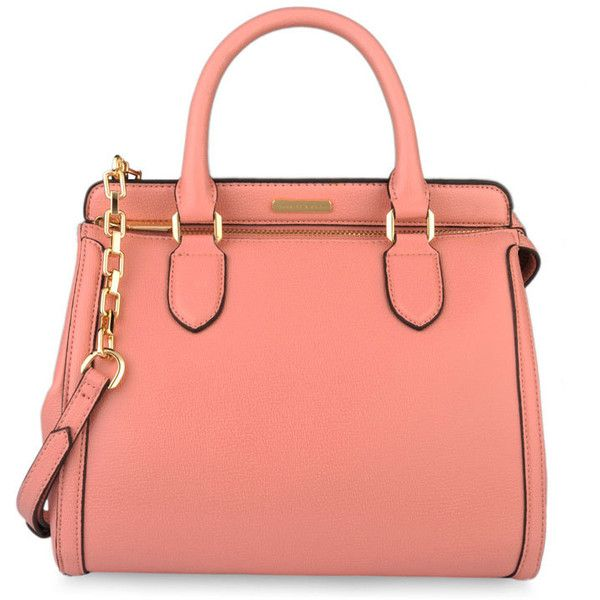 CHARLES & KEITH Work Handbag ($79) ❤ liked on Polyvore featuring bags, handbags, purses, accessories, bolsas, pink, handle bag, red purse, zip bags and zipper purse