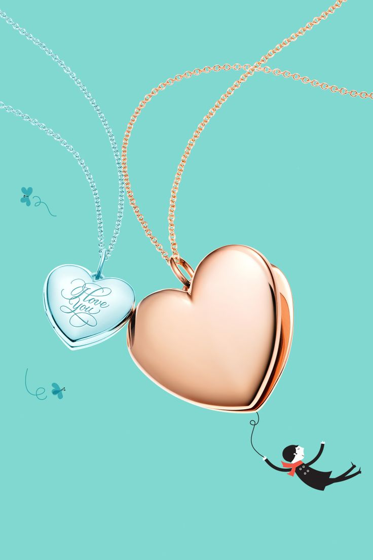 """Your love carries me away. """"I Love You"""" heart locket in sterling silver and heart locket pendant in 18k rose gold. #TiffanyPinterest"""