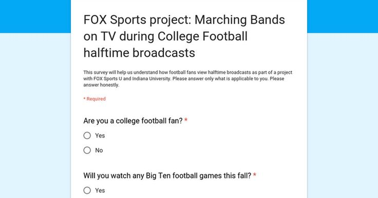 FOX Sports project: Marching Bands on TV during College Football halftime broadcasts