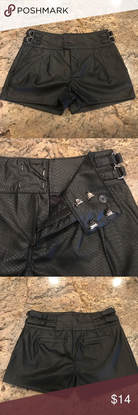 """Black Faux Leather short booty shorts new These are off price black faux booty shorts. The tags have been removed per our agreement with the manufacturer. We can not disclose the manufacturer per our agreement.   """"Definition of 'Off Price Retailers' Definition: Off-price retailers are retailers who provide high quality goods at cheap prices. off-the-season items etc. Description: These retailers offer inconsistent assortment of brand name and fashion-oriented soft goods at low prices…"""