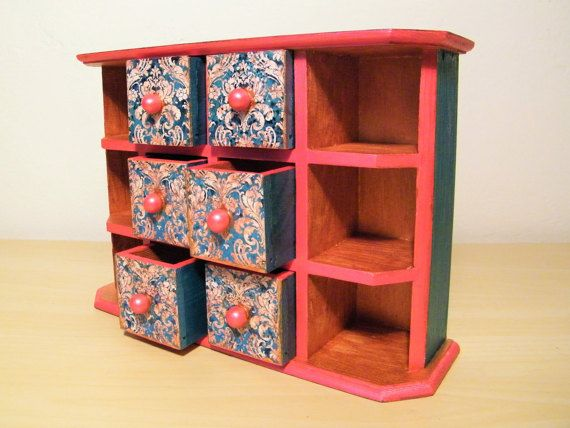 Wooden jewelry commode red jewelry box by AuthenticBlends on Etsy