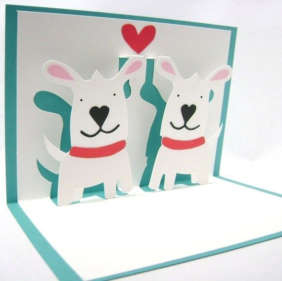 Puppy Love Pop Up Card by CookieBits on Etsy, $8.85