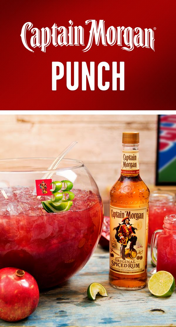 Small ship. Big flavor. Pack a punch on game day with this group serve cocktail recipe. To make a bowl of Captain Morgan's Punch for you and 7 members of your crew, combine 12 oz Captain Morgan Original Spiced Rum, 16 oz pomegranate juice, 8 oz apple cider, 8 oz fresh lime juice, and 1 oz simple syrup. Fill your cup, hit the couch, and enjoy the big game with Captain Morgan and friends.