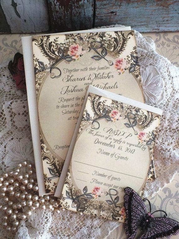 Romantic Vintage Wedding Invitation Suite SAMPLE By Avintageobsession On