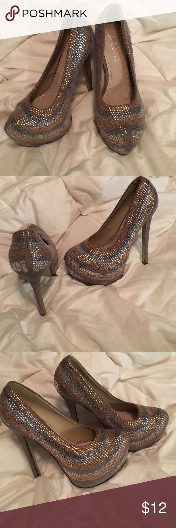 "Grey high heels Grey heels with gold, silver and chrome accents. Heel about 4"" HEM Shoes Heels"