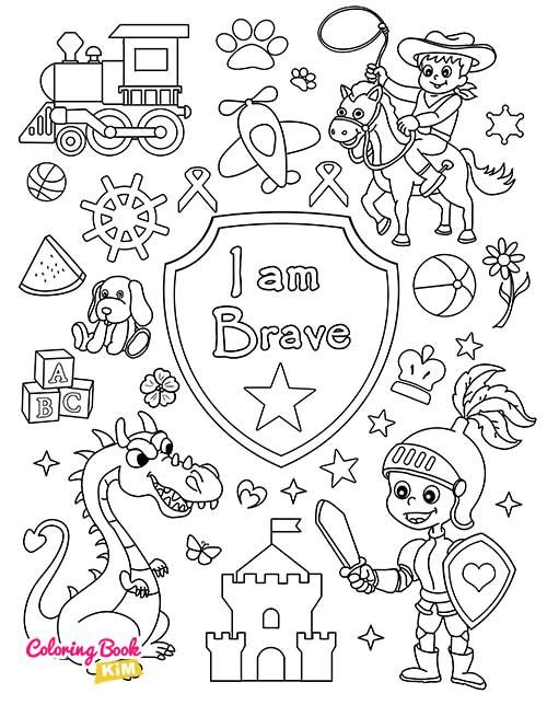 I Am Brave Coloring Page For Boys In 2020 Coloring Books Positive Character Traits Coloring Pages For Boys
