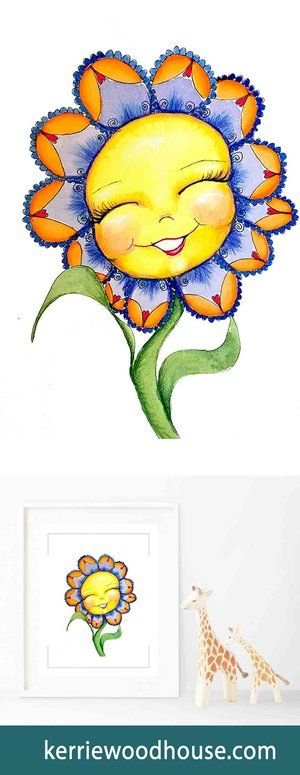 whimsical art print | kids decor | nursery art | orange print | cute print | girls room | flower | floral print