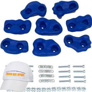 "Small Textured Rock Holds Set of 8, Blue by Swing Set Stuff Inc.. $18.95. Mounting Hardware Included. With a Bonus hat ($9.99 value). These come in red, blue, green and yellow.. These are small polyethylene molded rocks with easy grip texture surface. This is a set of 8 in three different shapes. Each rock has two mounting holes. The aprox size of each rock is 4"" x 2 1/2"".  The colors are blue and green."