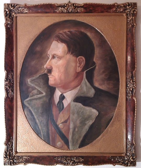 germanmilitariaww2: 1932 ADOLF HITLER PORTRAIT IN THE FRAME BUST HEAD LARGE $2499