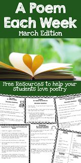 FREE poetry resources for March. Great discussion questions to get students thinking and talking about poetry.  Perfect review for testing.