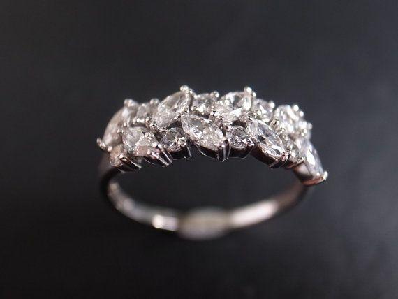 Marquise Diamond Wedding Ring in 14K White Gold by honngaijewelry