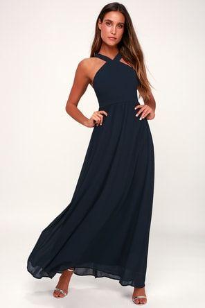 28c4a470df242 Lulus | Meteoric Rise Slate Blue Maxi Dress | Size Large | 100 ...