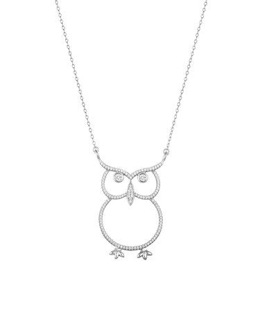 Another great find on #zulily! Cubic Zirconia & Sterling Silver Open Owl Pendant Necklace #zulilyfinds