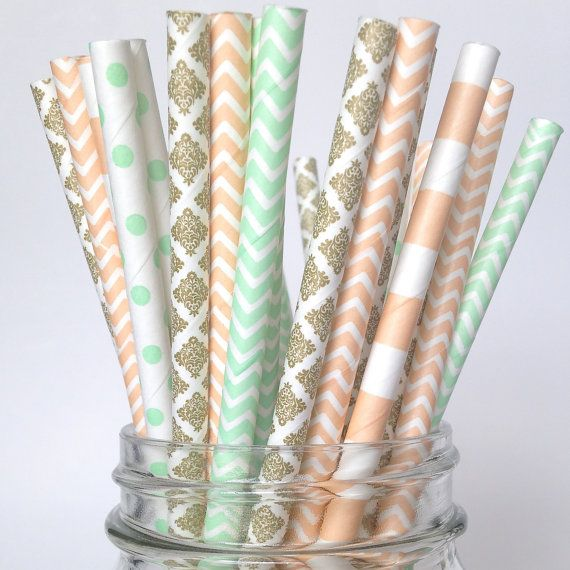 Peach Mint Gold Straws Vintage Coral by Twigsandtwirlsllc on Etsy