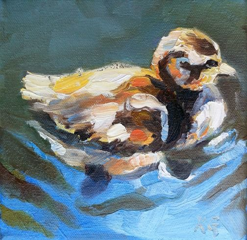 """""""Sparkling Duckling"""" by Kindrie Grove. Weekly Painting Project: Mallard Duckling. #art #painting #oilpainting #animals #wildlife #birds #duck #duckling"""