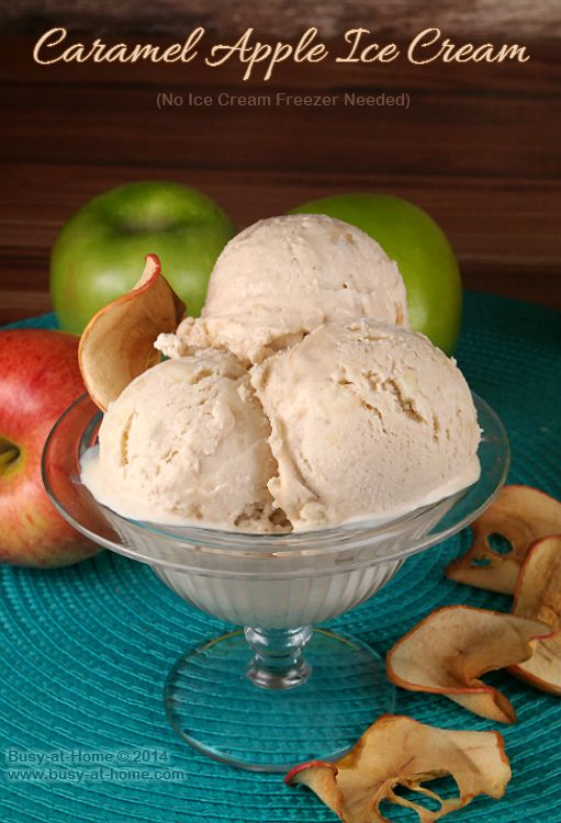Delicious homemade Caramel Apple Ice Cream - It's crazy simple to make and you don't need an ice cream freezer to do it!  Six simple ingredients to creamy, soft-serve heaven!