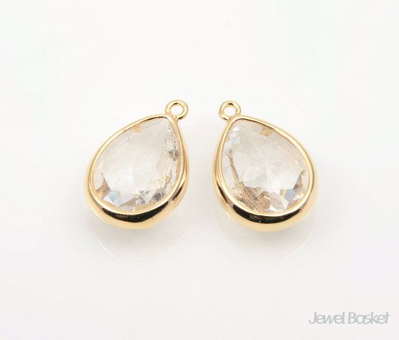 Crystal Glass and Gold Framed Teardrop Pendent / 10.5mm x 16mm / SCRG028-P (2pcs)  - High Polished Gold plated Frame (Tarnish Resistant) - Crystal Color Glass - Brass and Glass / 10.5mm x 16mm - 2pcs / 1pack