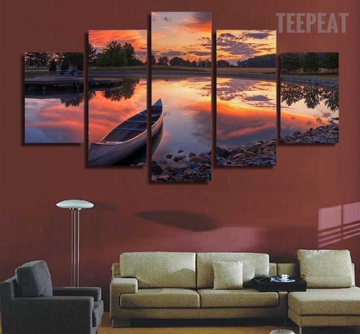 Canoe In The Sunset Painting - 5 Piece Canvas