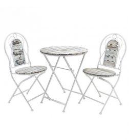 Σετ 3τμχ Τραπέζι Μεταλλικό Με 2 Καρέκλες inart