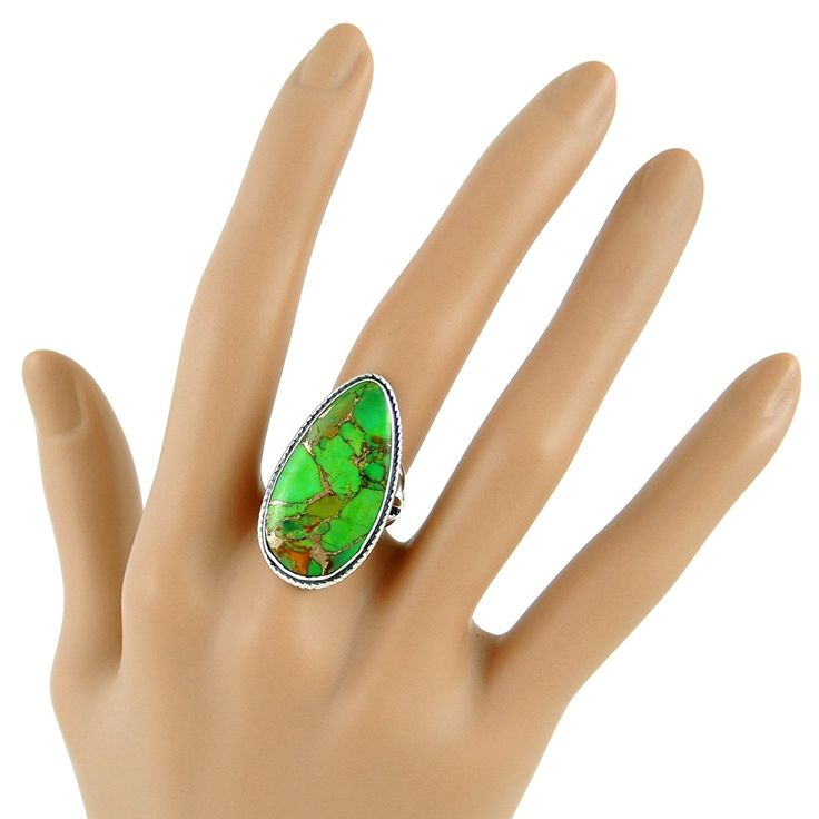 Amazon.com: 925 Sterling Silver Ring with Genuine Green Turquoise Sizes 6 to 11 (6): Jewelry