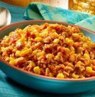 chili con carne met rijst en mais
