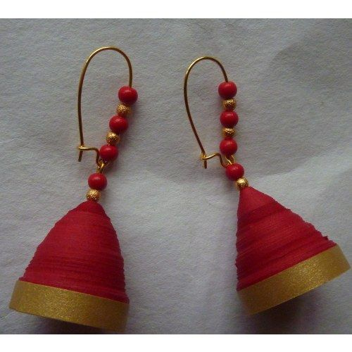 paper jhumka- red n gold