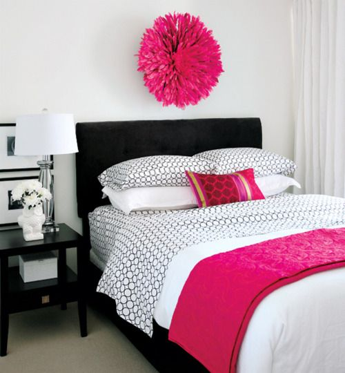 Chic Hot Pink U0026 Black Bedroom Design With Black Velvet Headboard U0026 Bedskirt  White U0026 Black Geometric Bedding, Hot Pink Blanket, Hot Pink Juju Hat And  Glossy ...