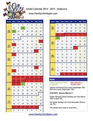 School Holiday Calendar Spain 2014 2015 Andalucía
