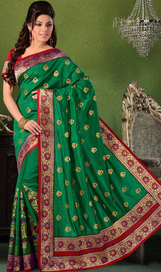 Green #Indian Dupion #Silk #Saree with Blouse   @ $98.73