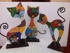 Resultado de imagen para gatos pintados en madera