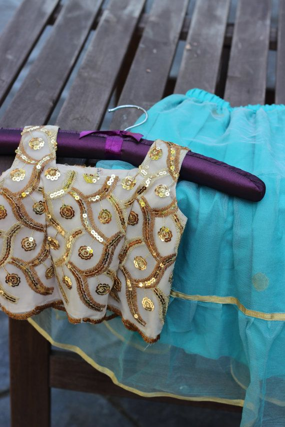 Handmade baby girl outfit, lehenga choli, gold sequin top and blue organza tiered skirt with gold trim on Etsy, $50.00 by PuchkeeBaby