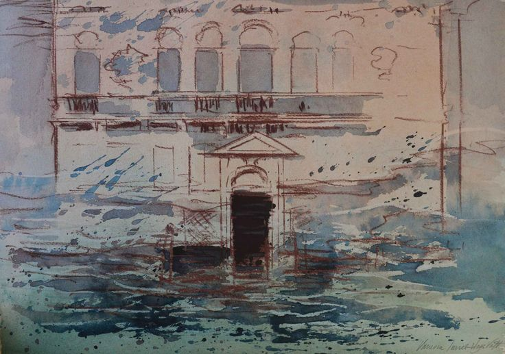 North end, grand canal facade, Venice. Watercolour, pastel and ink on paper, 19 x 13 inches.