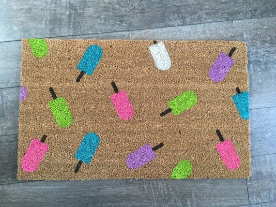 Popsicle doormat / Custom, Outdoor Welcome Mat / Wedding Gift / Housewarming Gift / Spring Decor / Unique Gift / Gift for Girlfirend
