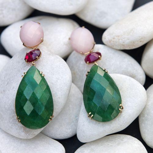 Pendientes de Plata de Ley bañada en Oro con Piedras Naturales Jade verde, Rubí y Ópalo rosa